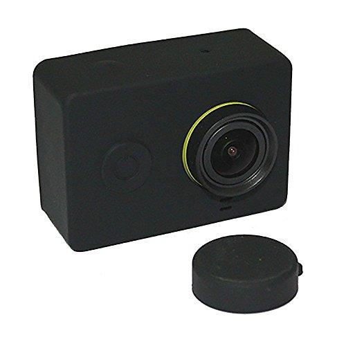 Preisvergleich Produktbild Weiche Silikon-Kasten-Haut mit Objektivabdeckung für XIAOMI Yi-Action-Kamera Schwarz