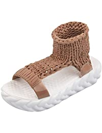 Gtagain Scarpe da Donna Sandali - Maglia Tessuto Piattaforma Cinturino alla  Caviglia Gladiatore Estate Open Toe 32f0a672d07