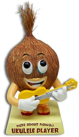 Coconut Ukulele Player Dashboard Doll Bobblehead * Nuts About Hawaii * Car Bobble Head