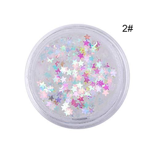LIUSHUGUANG 1 Box AB Chameleon Farbe Pailletten Nail Art Glitter Flocken UV Gel Polish Stern Herz Blumendekoration Werkzeuge,Pattern 2