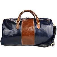 Bolsa de viaje mujer hombre con asas y correa de cuero genuino cuero italiano bolso deportivo bolsa cabina bolso de mano azul - marron