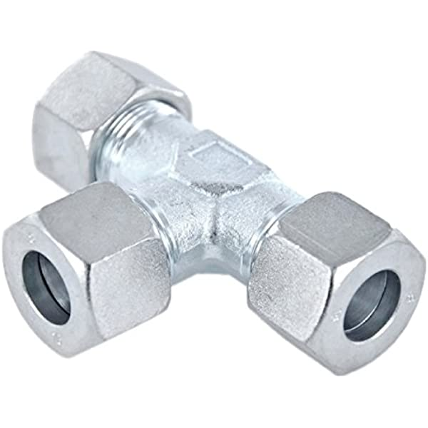 Stahl verzinktes T St/ück mit Dichtkegel und O-Ring leichte Baureihe Einstellbare T-Schneidringverschraubung 12 L