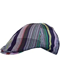 Mens Flat Cap Hat Country Golf Check Striped Print in Multicoloured Stripes