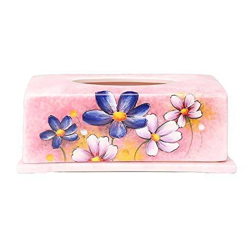 WYKDL Kosmetiktuch Box Cover Halter for Bad Waschtischplatten Rosa Keramik Tissue Box Dekoration Wohnzimmer Restaurant Kreative Handgemalte Serviette Box (Keramik Tissue Box Cover)