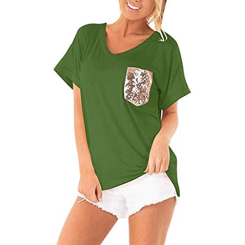 Nyuiuo Frauen Sommer Kurzarm T-Shirt Frauen V-Ausschnitt Einfarbig Pailletten Pocket Tops T-Shirt Sommer Frauen Kurzarm Mode Pailletten Kurzarm T-Shirt Frauen Lose Beiläufiges T-Shirt Sweatshirt - Baumwolle Bestickt Verziert Top