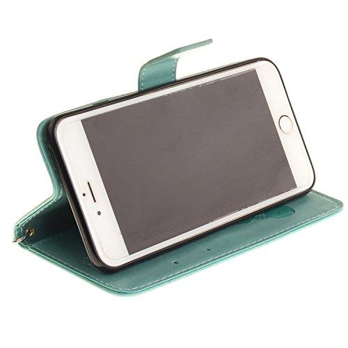 MOONCASE iPhone 6S Plus Coque, Panda Relief Motif Protection en PU Cuir Dragonne Sangle Housse Béquille Etui à Rabat TPU Case Cover avec Porte-cartes Fentes Portefeuille Béquille Fermeture Magnétique  Vert