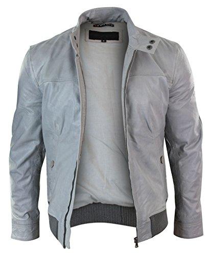 Herrenjacke 100% Echtleder Grau Weiß Bomber Vintage Design Varsity Tailored Fit Grau