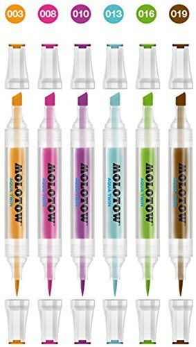 Basic Drawing Kit (Molotow Aqua Twin Basic Set 2 6 Colours Marker Kit Water Based Aquarell Set Box)