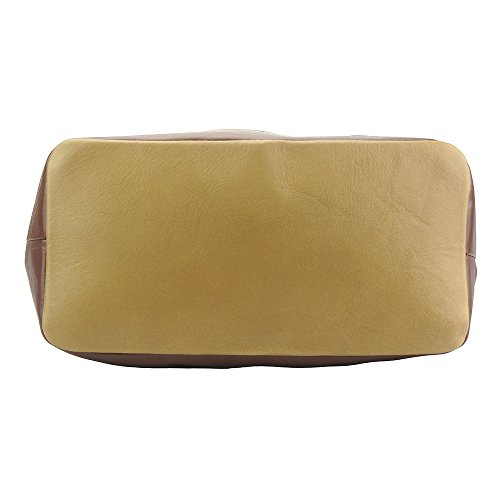Sac à main porté épaule avec double lanière en cuir 6140 Taupe foncé-marron