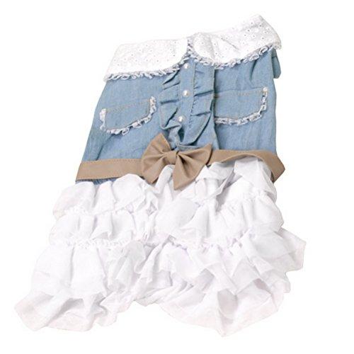 zunea Kleiner Hund Katze Kleidung für Sommer Denim Hemd Weiß Kleid gestuft mit Leder Schleife (Weißes Männlich Kaninchen Kostüm)