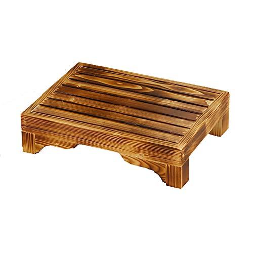 Klappstufen Fußstütze Hocker Massivholz Niedriger Hocker Bettsofa Fußhocker WC Bad Rutschfeste Holzmatte (Farbe : Carbonized Color, größe : 40 * 30 * 20cm)