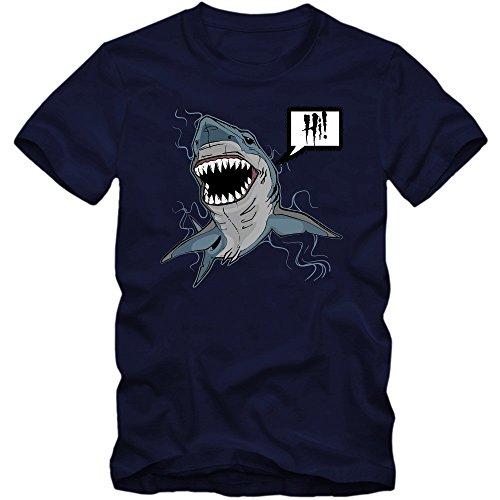 Shark-Hi T-Shirt | Meer | Herren | Raubtiere | Blut | Hai, Farbe:Dunkelblau (French Navy L190);Größe:L