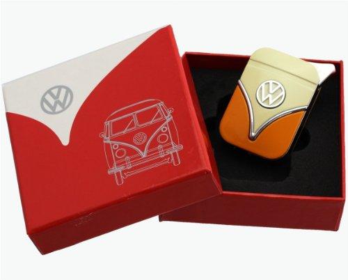 Original Volkswagen Feuerzeug PIEZO Nachfüllbar Gasfeuerzeug im Frontschild Design - in verschiedenen Farben - Geschenkset ( VW-Bulli-gelb-orange )