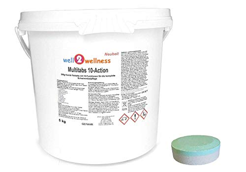 Nur Eine 30 Tabletten (well2wellness Chlortabletten Multitabs 10-Action 200g mit 10 Funktionen - 5,0 kg Eimer)