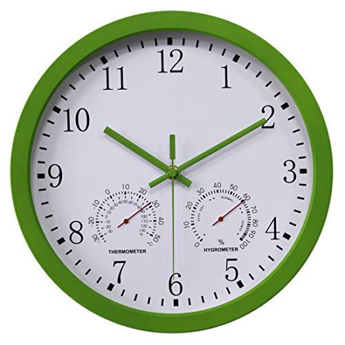 Yavso Wanduhr Funk Funkuhr Lautlos Funkwanduhr mit Thermometer und Hygrometer, 30cm (Grün)