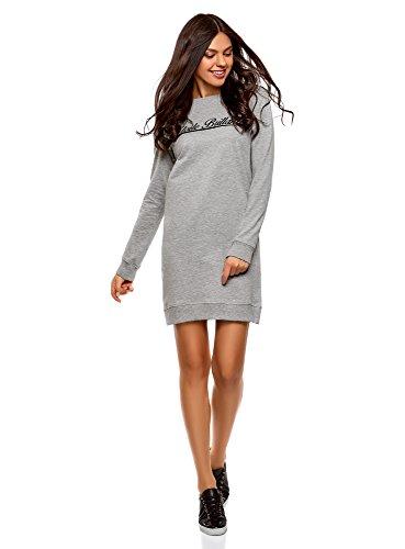 oodji Ultra Femme Robe Imprimé Style Sportif, Gris, FR 36 / XS