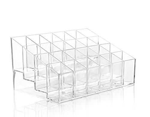 LAAT 24 Slots Lippenstift Halter Kosmetische Transparentes Kästchen Aufbewahrungsbox Fall Transparent Nagellack Speicherorganisator Make-Up Veranstalter Rack von Proben