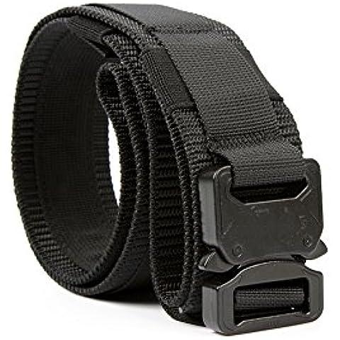 Yisibo cinghia tattica Heavy Duty di sicurezza esterna Utility Duty Cintura con Molle sistema militare di stile di nylon fibbia in metallo 1.5 '' Cinture Nero M