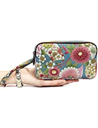 Bohemian Purse Wallet Canvas Floral Elephant Pattern Handbag With Coin Pocket And Strap For Women Girl (Red Flowers...