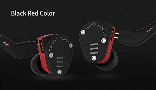 KZ ZSA Metall Ohrhörer 1DD + 1BA Armature und dynamische Hybrid in Ear Monitore Headset Ohrhörer HiFi Bass Noise Cancelling im Ohr (Schwarz und Rot)