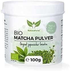 NaturaForte Bio Matcha-Tee Pulver 100 g, Japanisches Grüntee-Pulver, Handverpackt in Aroma-Schutzdose, Natürlich Grün, Extra fein gemahlen und Vegan