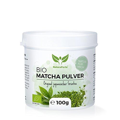 Grünen Heute Fett (NaturaForte Bio Matcha-Tee Pulver 100 g, Japanisches Grüntee-Pulver, Handverpackt in Aroma-Schutzdose, Natürlich Grün, Extra fein gemahlen und Vegan)