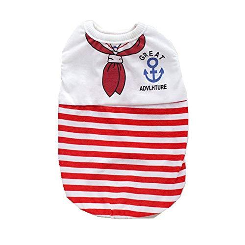 YEZIJIANG Haustier Hund Shirts Marine Streifen Baumwolle Welpen T Shirts Seemann mit Anker Zeichen Hund Sommer Freizeitkleidung