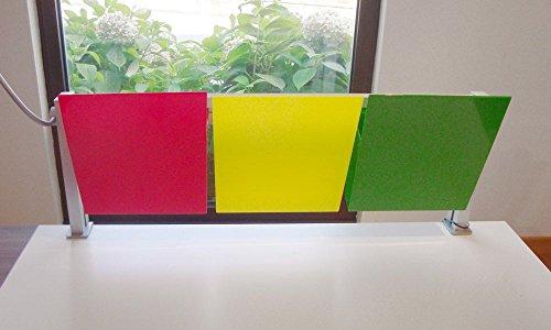 Studio T, Kanban, Porta documenti con 3 vaschette colorate e barra da scrivania, modello Kanban, formato A4 Verticale