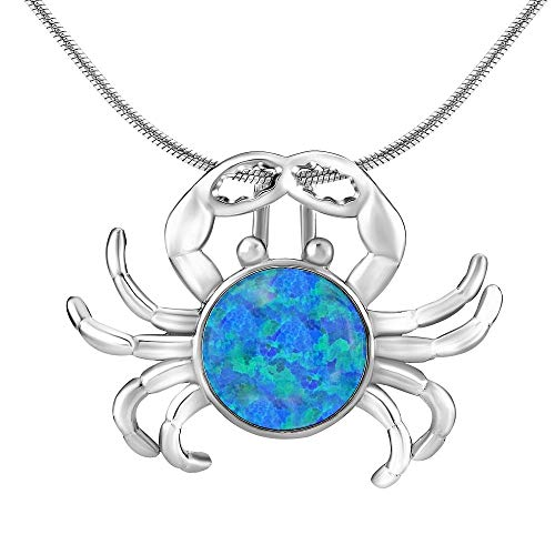 Damen Anhänger aus 925 Sterling Silber Krebs mit Blauem Opal