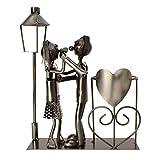 Michel Toys Flaschenhalter Tanzpaar mit Laterne für Teelicht, Kerze, Metall, Silber -