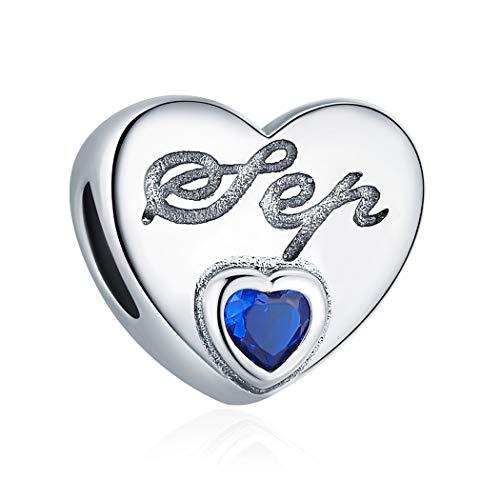 Geburtstag Stein-Serie Sept. Blue Sapphire, Mini Anhänger Herz Anhänger Charms Perlen für Gastgeschenk Hochzeit in Geschenkbox Armband Schmuck Zubehör DIY Handwerk… - Charms Ring, Geburtsstein Halskette,