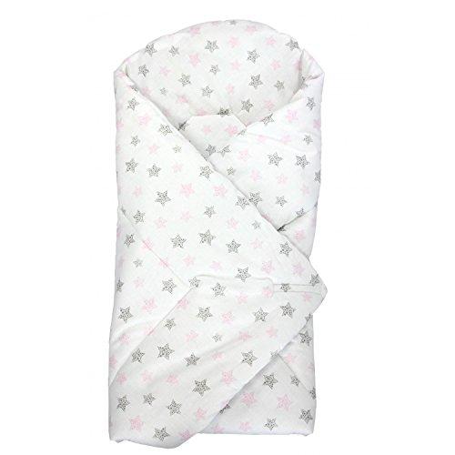 TupTam Baby Einschlagdecke Wattiert Baumwolle ANK003, Farbe: Tupfen-Sterne Rosa/Grau, Größe: ca. 75 x 75 cm
