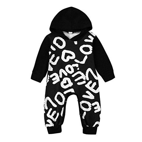 LCLrute New Mode Top-Qualität Neugeborene Kleinkind-Baby-Jungen-Mädchen-BuchstabeHoodie Spielanzug-Overall-Ausstattungs-Kleidung (Wolf Ohren Stirnband)
