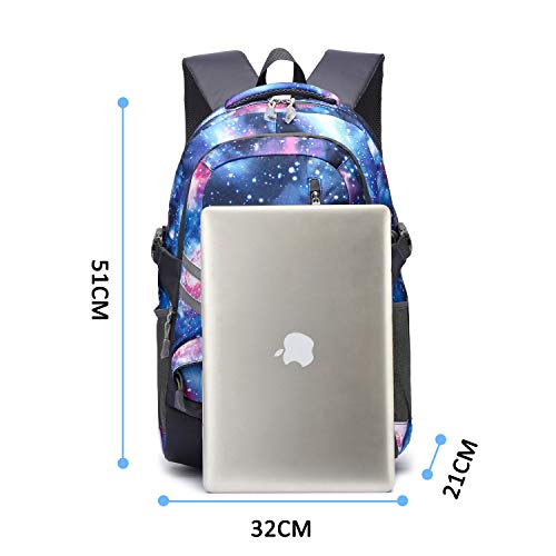 E-ZONED Zaino Scuola Superiore Per PC 15.6 Pollici da Donna e Uomo, Backpack Portabile Casual Rucksack per Laptop Universita Viaggio con Presa Ricarica USB (Galassia) - 6