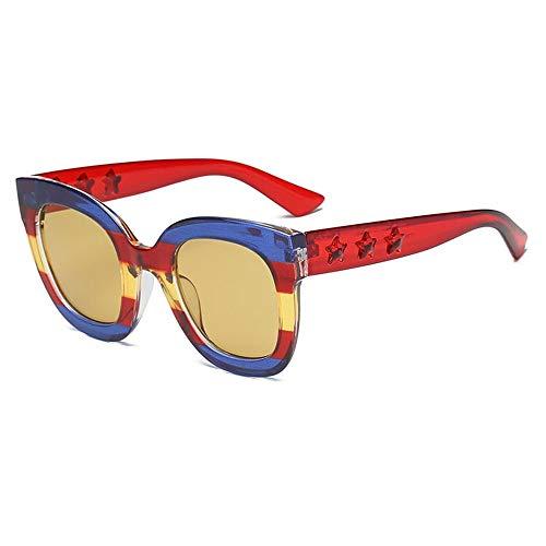 XINGMU  Sonnenbrillen Damen Squaer Persönlichkeit Full Frame Sonnenbrillen Tricolor Anhänger Dekoration,5