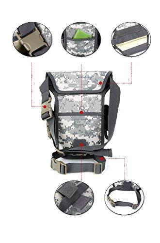 YAAGLE Herren militärisch Beintasche outdoor Reisetasche wasserdicht Fahrradtasche motorisierte Hüfttasche Kuriertasche Sporttasche-schwarz Tarnung 1