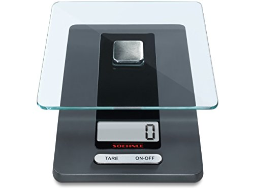 Soehnle Fiesta - Báscula de cocina de vidrio, 20.3x11.4x2.9 cm, color gris