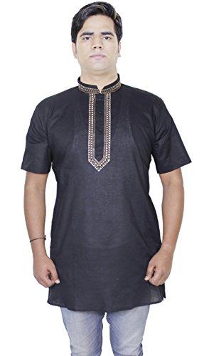 Mens modo del cotone lungo kurta pulsante fino maniche corte t-shirt tee -size l