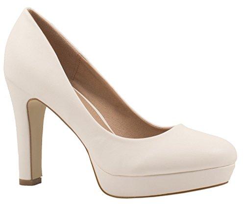 Elara Moderne Damen High Heels   Stiletto Schuhe   Plateau Pumps   Chunkyrayan E22321-Weiss-36 - Hochzeit Pumps