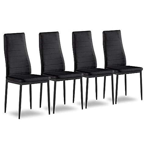 4er Set Esszimmerstuhl Küchenstühle Polsterstuhl Stuhlgruppe (Schwarz)