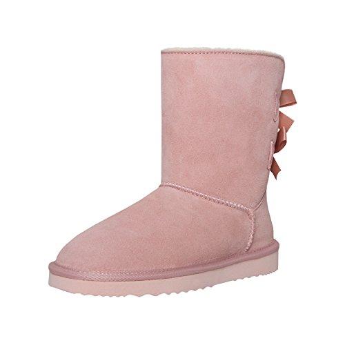 SKUTARI Wildleder Damen Frauen Winter-Boots | Warm Gefüttert | Schlupf-Stiefel mit Stabiler Sohle | Schleife Pailletten Glitzer Meliert Schuhe (39 EU, Pink) (Wildleder Camel Stiefel)