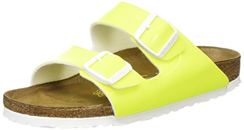Birkenstock Classic Damen Arizona Birko-Flor Pantoletten, Gelb (Neon Yellow Lack), 38 EU