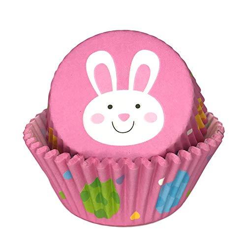 Osterfeiertage rosa Osterhasen und Eier Druck Backen Cupcake Liner Party Supply Dekoration - 50 Stück
