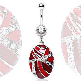 Cristallino, con le Red accenti ovale fascino ciondola acciaio chirurgico della barra della pancia 1,6 (Shell Accenti)