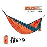 Gugou Outdoor Camping Jagd Hängematte Tragbare Doppelhängematte Orange 2 Personen