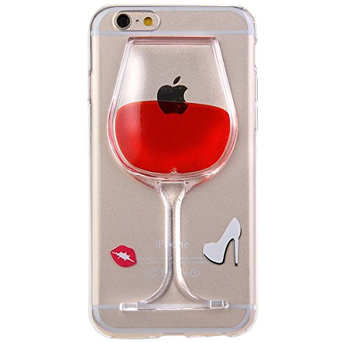 iPhone 5 C Fall, Little Sky (TM) [Slim Fit] [Flüssigkeit] Floating Bling Glitzer Sparkle Sterne Hard Case für Apple iPhone 5 C Red Wine Glass -