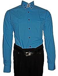 6ebf793bf169 Designer Herren Hemd klassischer 2 Kragen Herrenhemd Slim Fit tailliert  Bügelfrei Langarm Schwarz…