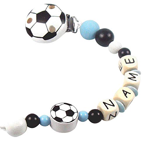PREMIUM Schnullerkette mit Namen Modell Fußball hellblau schwarz