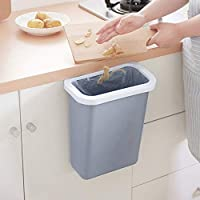 Trash Storage Box Door Back Hanging Desktop Rubbish Plastic Container Kitchen Organizer Garbage Boxes Supplies (grey)