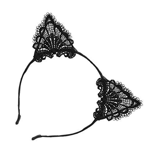 Banbie8409 Nette Kätzchen-Kostüm-Ohr-Spitzehaarbänder-Art- und Weisepartei-Stirnbänder für Frau-Schwarz-